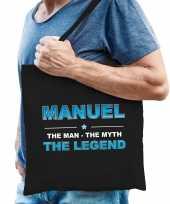 Naam cadeau tas manuel the legend zwart voor heren