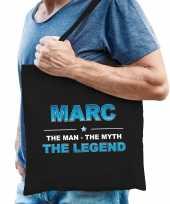 Naam cadeau tas marc the legend zwart voor heren