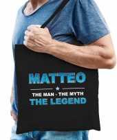 Naam cadeau tas matteo the legend zwart voor heren