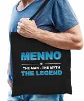 Naam cadeau tas menno the legend zwart voor heren