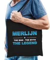 Naam cadeau tas merlijn the legend zwart voor heren