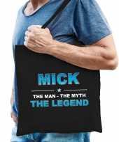 Naam cadeau tas mick the legend zwart voor heren