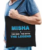 Naam cadeau tas misha the legend zwart voor heren