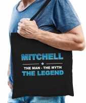 Naam cadeau tas mitchell the legend zwart voor heren