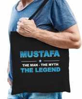 Naam cadeau tas mustafa the legend zwart voor heren