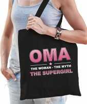Oma the supergirl cadeau tas zwart voor dames