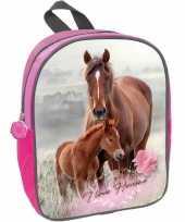 Paard met veulen rugzak rugtas roze voor meisjes 29 x 23 x 10 cm