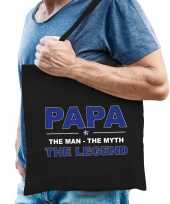 Papa the legend katoenen tas zwart voor heren
