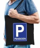 Pensioen p parkeerbord cadeau tas zwart voor heren