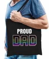 Proud dad trotse vader regenboog cadeau tas zwart voor heren