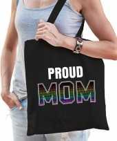 Proud mom trotse moeder regenboog cadeau tas zwart voor dames