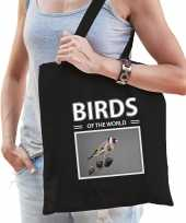 Putter vogel tasje zwart volwassenen en kinderen birds of the world kado boodschappen tas