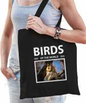 Ransuil tasje zwart volwassenen en kinderen birds of the world kado boodschappen tas