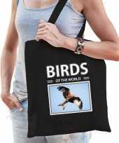Rode wouw tasje zwart volwassenen en kinderen birds of the world kado boodschappen tas