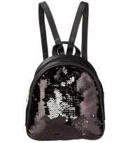 Rugzak schooltas zwart met pailletten 19 cm voor meisjes