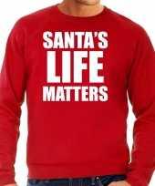 Santas life matters kerst sweater kerst outfit rood voor heren