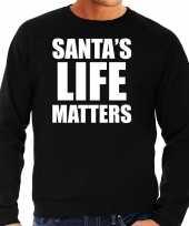 Santas life matters kerst sweater kerst outfit zwart voor heren