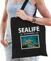 Schildpadden tasje zwart volwassenen en kinderen sealife of the world kado boodschappen tas