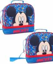 Set van 2x stuks kleine koeltassen voor lunch blauw met mickey mouse print 27 x 13 x 24 cm 8 liter