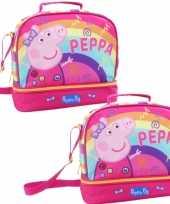 Set van 2x stuks kleine koeltassen voor lunch roze met peppa pig print 27 x 13 x 24 cm 8 liter