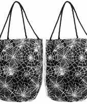 Set van 2x stuks spinnenweb horror trick or treat handtas 17 x 25 cm