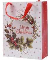 Set van 3x stuks kerstmis cadeautassen xxl 72 cm kerstkrans