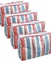 Set van 4x deken kussen opbergtas raffia gestreept 80 x 31 x 60 cm