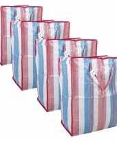 Set van 4x opbergtas boodschappentas raffia gestreept 52 x 26 x 62 cm