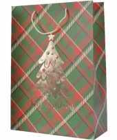 Set van 5x stuks kerstmis cadeautassen xxl 72 cm groen rood