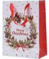 Set van 5x stuks kerstmis cadeautassen xxl 72 cm krans met vogel