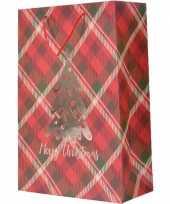 Set van 5x stuks kerstmis cadeautassen xxl 72 cm rood geruit