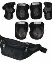 Set van heuptasje zwart 29 cm en valbescherming maat l 9 tot 10 jaar