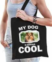 Sheltie honden tasje zwart volwassenen en kinderen my dog serious is cool kado boodschappentasje 10246575