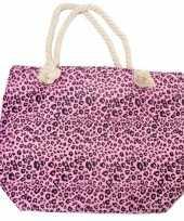 Shopper boodschappen tas luipaard panter print roze 43 cm