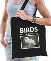 Sneeuwuil tasje zwart volwassenen en kinderen birds of the world kado boodschappen tas