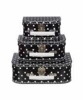 Speelgoed koffertje zwart met witte stippen 25 cm