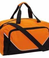 Sporttas reistas oranje zwart 29 liter