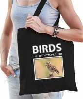 Steenuil tasje zwart volwassenen en kinderen birds of the world kado boodschappen tas