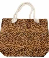 Strandtas luipaard panter print bruin 43 cm
