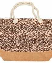 Strandtas luipaard panter print bruin roze 50 cm