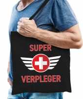 Super verpleger cadeau tas zwart voor heren