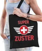 Super zuster cadeau tas zwart voor dames