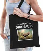 T rex dinosaurus tasje zwart volwassenen en kinderen amazing dinosaurs kado boodschappen tas 10265526