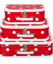 Teken koffertje rood polkadot 25 cm