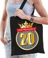 This princess is 20 verjaardag cadeau tas zwart voor dames