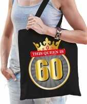 This queen is 60 verjaardag cadeau tas zwart voor dames