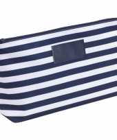 Toilettas make up tas gestreept blauw wit 28 cm voor heren dames