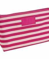 Toilettas make up tas gestreept roze beige 28 cm voor dames