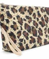 Toilettas make up tas luipaard panter bruin 28 cm voor dames