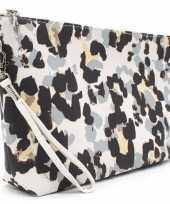 Toilettas make up tas luipaard panter grijs 28 cm voor dames